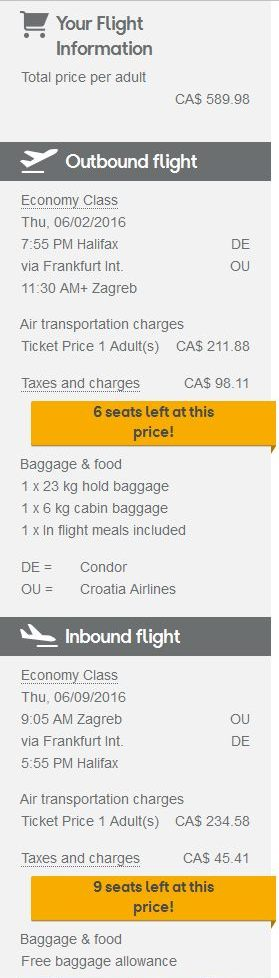 croatia airlines baggage allowance